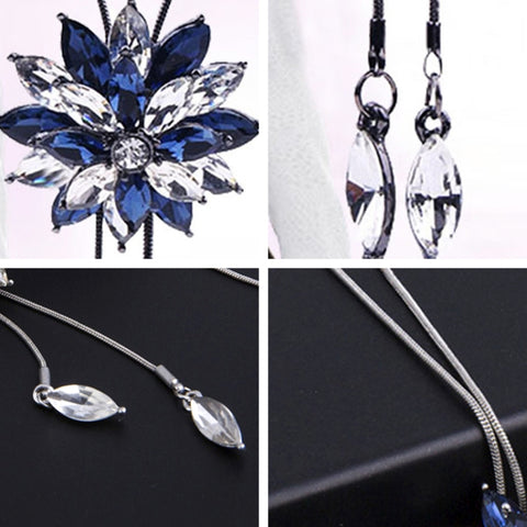 5e6f27c50d86 ... Fashion Lady Gorgeous Flower Sweater Chain Summer Dress Accessories(Blue  and White) ...