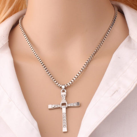 Fashion Rhinestone Cross Pendant Encrypted Box Necklace