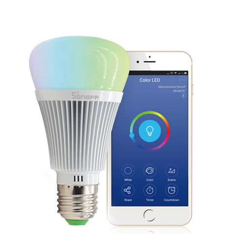 Sonoff B1 E27 Port 6W Dimmable White + RGB LED Smart Light Bulb 600LM  eWelink Phone APP WiFi 2 4GHz, Support Alexa Echo & Google Home Voice  Control,