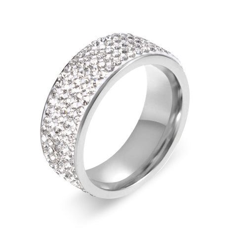 Stainless Eternity Ring For Wedding Band High Quality Crystal And Inlaid Circle Round [Silver]