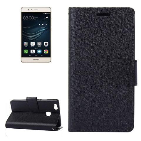 Buy Online  Huawei P9 Lite Cross Texture Leather Case with Holder & Card Slots & Wallet(Black) Huawei Cases - MEGA Discount Online Store Ghana