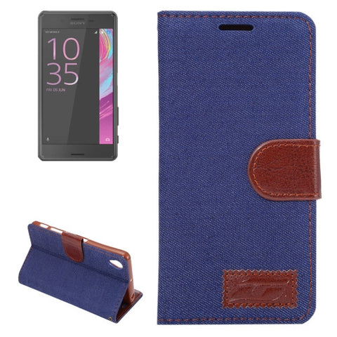 Buy Online  Sony Xperia X Performance Jeans Horizontal Flip Leather Case with Holder & Card Slots(Dark Blue) Sony Cases - MEGA Discount Online Store Ghana