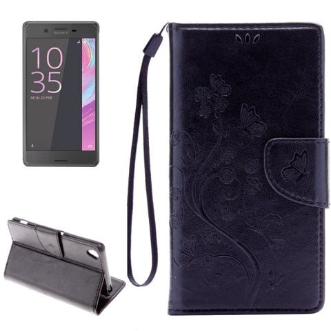 Buy Online  Sony Xperia X Performance Butterflies Embossing Horizontal Flip Leather Case with Holder & Card Slots & Wallet & Lanyard(Black) Sony Cases - MEGA Discount Online Store Ghana