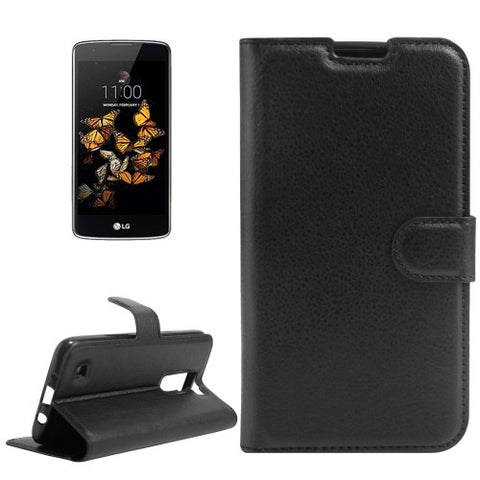 Buy Online  LG K8 Litchi Texture Horizontal Flip Leather Case with Holder & Card Slots & Wallet(Black) LG Cases - MEGA Discount Online Store Ghana