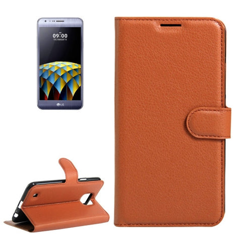 Buy Online  LG X Cam Litchi Texture Horizontal Flip Leather Case with Holder & Card Slots & Wallet(Brown) LG Cases - MEGA Discount Online Store Ghana