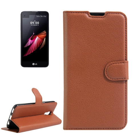 Buy Online  LG X Screen Litchi Texture Horizontal Flip Leather Case with Holder & Card Slots & Wallet(Brown) LG Cases - MEGA Discount Online Store Ghana