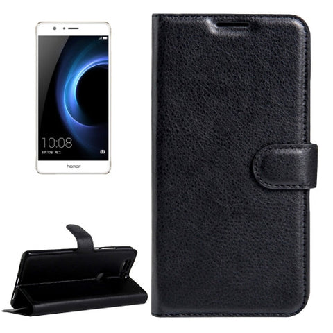Buy Online  Huawei Honor V8 Litchi Texture Horizontal Flip Leather Case with Magnetic Buckle & Holder & Card Slots & Wallet(Black) Huawei Cases - MEGA Discount Online Store Ghana