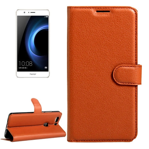 Buy Online  Huawei Honor V8 Litchi Texture Horizontal Flip Leather Case with Magnetic Buckle & Holder & Card Slots & Wallet(Brown) Huawei Cases - MEGA Discount Online Store Ghana