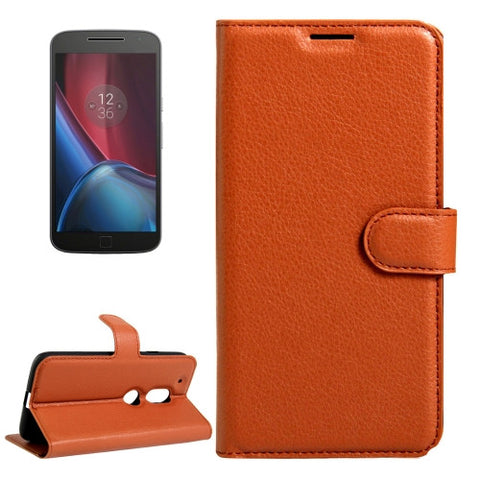 Buy Online  Motorola Moto G4 Play Litchi Texture Horizontal Flip Leather Case with Magnetic Buckle & Holder & Card Slots & Wallet(Brown) Motorola Cases - MEGA Discount Online Store Ghana