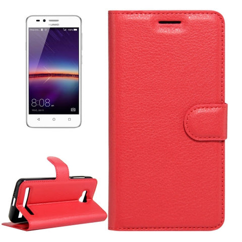 Buy Online  Huawei Y3 II / Y311 Litchi Texture Horizontal Flip Leather Case with Magnetic Buckle & Holder & Card Slots & Wallet(Red) Huawei Cases - MEGA Discount Online Store Ghana