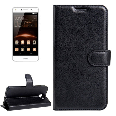 Buy Online  Huawei Y5 II Litchi Texture Horizontal Flip Leather Case with Magnetic Buckle & Holder & Card Slots & Wallet(Black) Huawei Cases - MEGA Discount Online Store Ghana