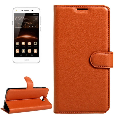 Buy Online  Huawei Y5 II Litchi Texture Horizontal Flip Leather Case with Magnetic Buckle & Holder & Card Slots & Wallet(Brown) Huawei Cases - MEGA Discount Online Store Ghana