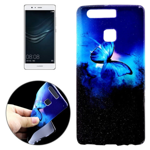 Buy Online  Huawei P9 Blue Butterfly in the Dark Pattern Fashionable Flash Powder Oil Spout Soft TPU Protective Case Back Cover Huawei Cases - MEGA Discount Online Store Ghana