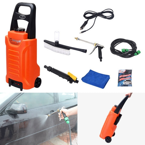 ANLAN Portable Hand Pull Cigarette Lighter Outdoor Car Washing Machine Vehicle Washing Tools with Shelf, Water Storage: 35L, DC 12V(Orange)