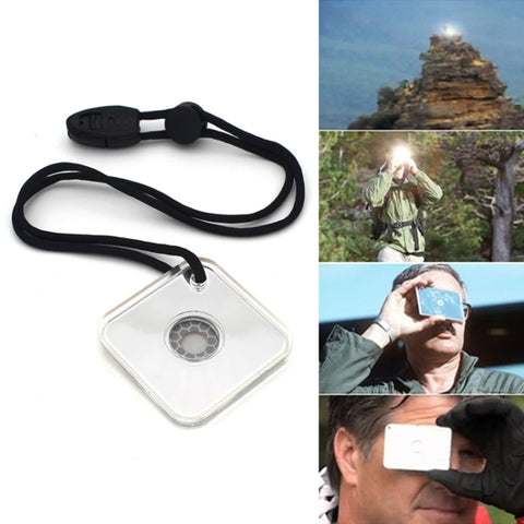 Multifunctional Survival Emergency Rescue Reflective Signal Mirror Hiking Outdoor Tool with Whistle