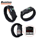 5PCS AK17 Multi-functional Nylon Braided Rechargeable LED Remote Infrared Ray Survival Bracelets