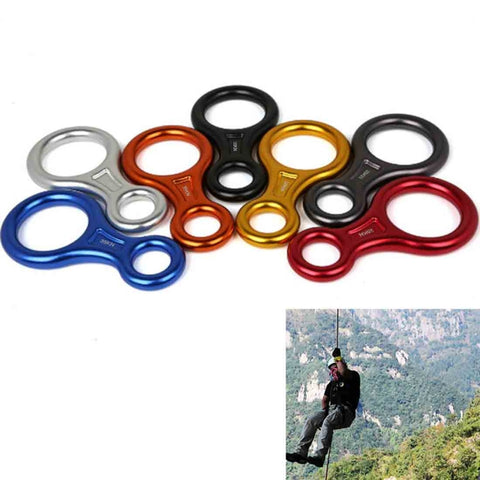 Climbing Rescue Figure 8 Descender Rappelling Gear Belay Device, Random Color