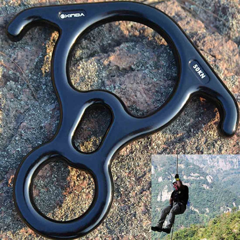Climbing Rescue Figure 8 Descender with Bent-ear Rappelling Gear Belay Device(Black)