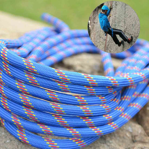 Climbing Auxiliary Rope Static Rope Safety Rescue Rope, Length: 15m Diameter: 10mm(Blue)