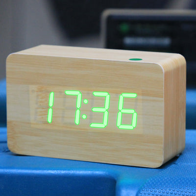 Green Number USB / Battery Wooden Clock with Voice Control (Alternately display time, month & date and temperature)(Green)