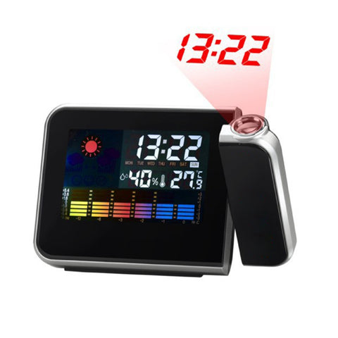Multifunctional Digital Color LCD Display LED Projection Alarm Clock with Weather Station / Temperature / Humidity / Calendar(Black)