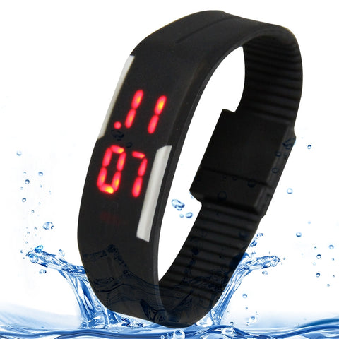 Fashion Waterproof Silicone Bracelet Watch with LED Display(Black)