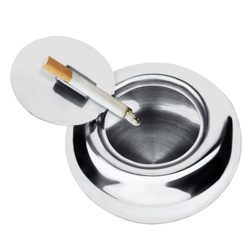 Portable Stainless Steel Drum Shaped Ashtray with Lid Cigar Holder(Silver)