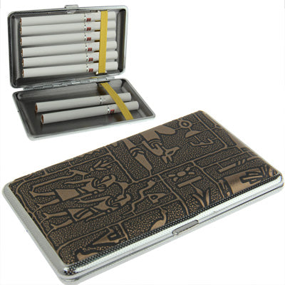 Metal Frame + Tribal Embossed Pattern Cigarette Leather Case(Black)