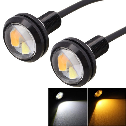 2 PCS 22.5mm 2W 200LM White + Yellow Light 4 LED SMD 5630 Eagle Eye Car Steering Light Daytime Running Light(Black) LED & Bulbs - MEGA Discount Online Store Ghana