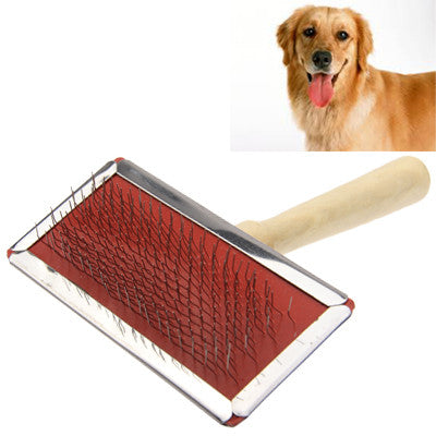 Buy Online  Soft Curve Needled Manual Bristles Grooming Cleaning Brush with Wood Handle for Pet, Medium Size Pet Care - MEGA Discount Online Store Ghana