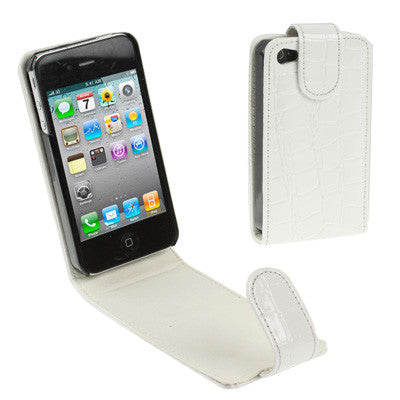 Buy Online  Crocodile Texture Leather Cover for iPhone 4 & 4S(White) Apple Cases - MEGA Discount Online Store Ghana