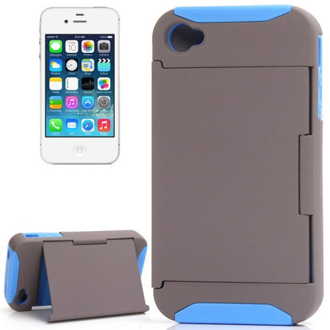 Buy Online  Silicone + Plastic Combination Cover with Holder for iPhone 4 & 4S (Grey + Blue) Apple Cases - MEGA Discount Online Store Ghana