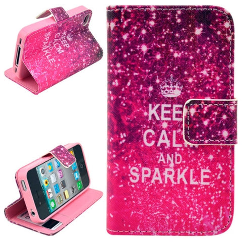 Buy Online  Keep Calm and Sparkle Pattern Leather Cover with Credit Card Slots & Holder for iPhone 4 & 4S Apple Cases - MEGA Discount Online Store Ghana