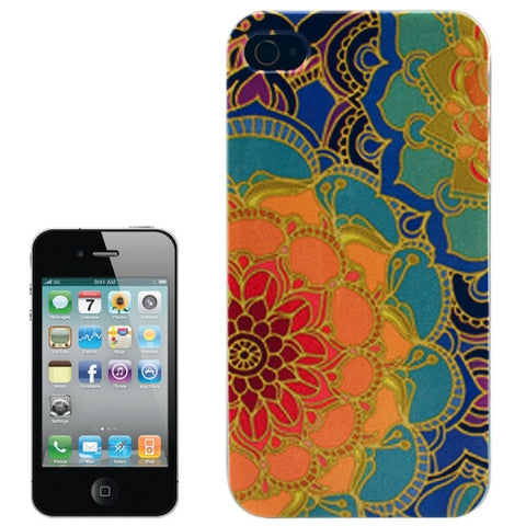 Buy Online  Flower Pattern Transparent Frame Colored Drawing Plastic Cover for iPhone 4 Apple Cases - MEGA Discount Online Store Ghana