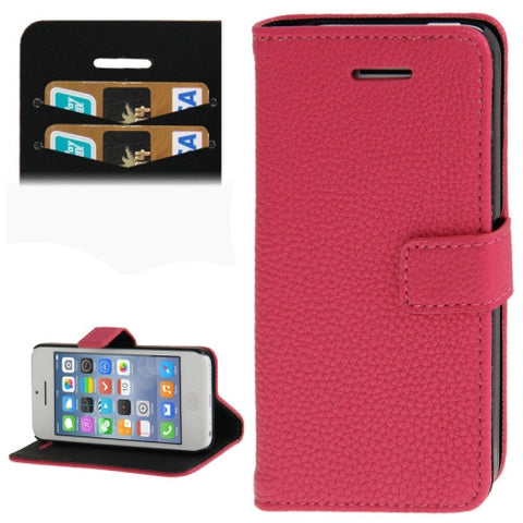 Buy Online  Litchi Texture Leather Cover with Credit Card Slots & Holder for iPhone 5 C (Magenta) Apple Cases - MEGA Discount Online Store Ghana