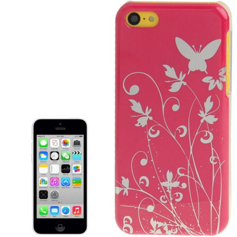 Buy Online  Butterfly Pattern Smooth Surface Plastic Cover for iPhone 5 C (Magenta) Apple Cases - MEGA Discount Online Store Ghana
