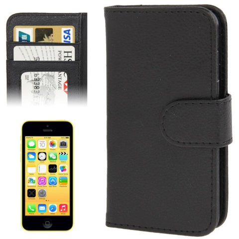 Buy Online  Litchi Texture Leather Cover with Credit Card Slots for iPhone 5 C (Black) Apple Cases - MEGA Discount Online Store Ghana