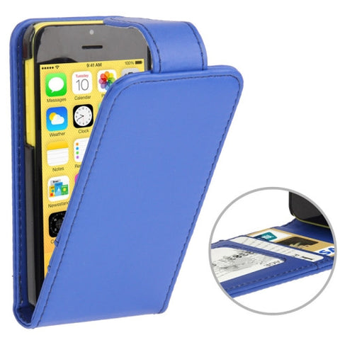 Buy Online  Vertical Flip Leather Cover with Credit Card Slots for iPhone 5 C(Blue) Apple Cases - MEGA Discount Online Store Ghana