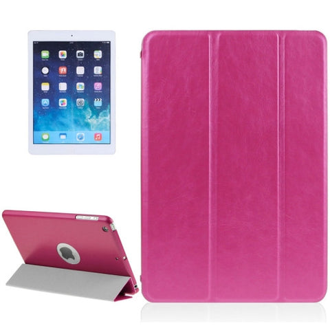 Buy Online  3-fold Lambskin Plastic Back Shell Smart Leather Cover with Sleep / Wake-up & Holder Function for iPad Air(Magenta) Apple Cases - MEGA Discount Online Store Ghana