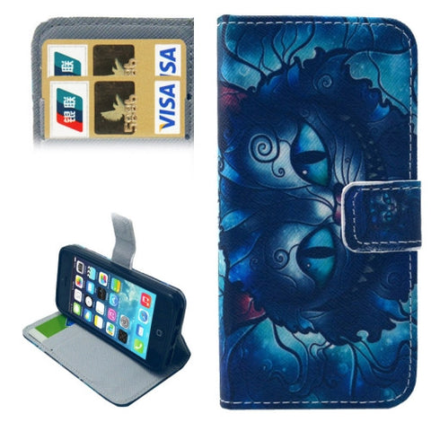 Buy Online  Cat Pattern Leather Cover with Holder & Card Slots & Wallet for iPhone 5 & 5S Apple Cases - MEGA Discount Online Store Ghana