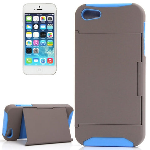Buy Online  Silicone + Plastic Combination Cover with Holder for iPhone 5 (Grey + Blue)(Grey) Apple Cases - MEGA Discount Online Store Ghana