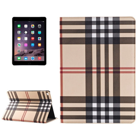 Buy Online  Plaid Texture Leather Cover with Holder & Card Slots & Money Pocket for iPad Air 2(Yellow) Apple Cases - MEGA Discount Online Store Ghana