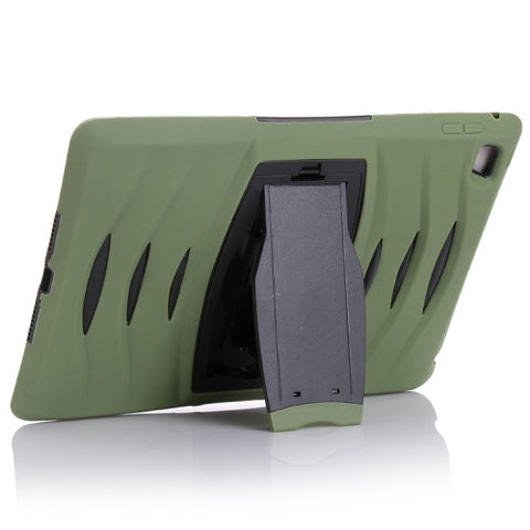 Buy Online  Screen Protector + Shockproof Silicone + Plastic Shell Combination Cover with Holder for iPad Air 2 / iPad 6 (Army Green) Apple Cases - MEGA Discount Online Store Ghana