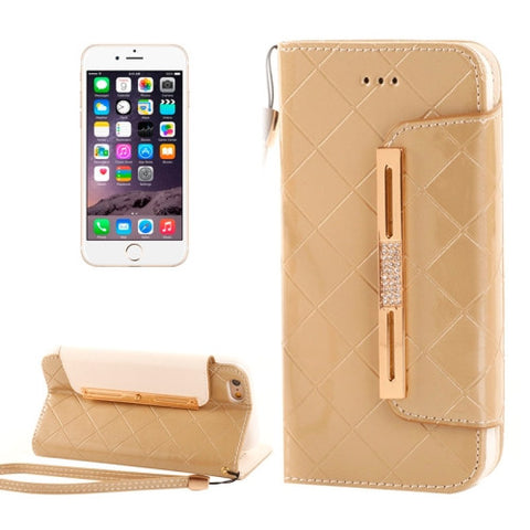 Buy Online  Wallet Style Diamond Encrusted Leather Case with Lanyard & Card Slots & Money Pocket for iPhone 6 & 6S(Gold) Apple Cases - MEGA Discount Online Store Ghana