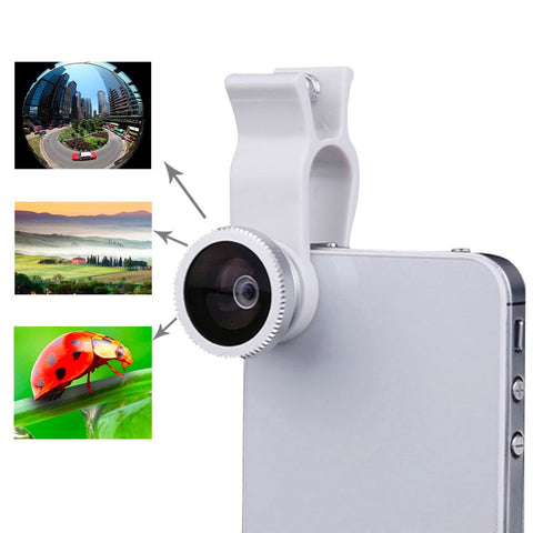 Buy Online  3 in1 Universal Fisheye Wide Angle Macro Lens Set with Clip (Silver) Lens - MEGA Discount Online Store Ghana
