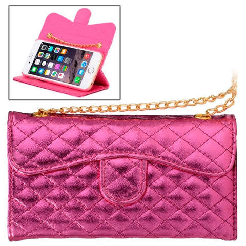 Buy Online  Plaid Texture Shiny Sheepskin Flip Leather Case with Card Slots & Wallet & Holder & Lanyards for iPhone 6 & 6S(Magenta) Apple Cases - MEGA Discount Online Store Ghana