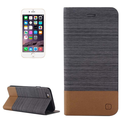 Buy Online  Horizontal Flip Canvas Leather Case with Card Slot & Holder for iPhone 6 & 6S (Dark Gray) Apple Cases - MEGA Discount Online Store Ghana