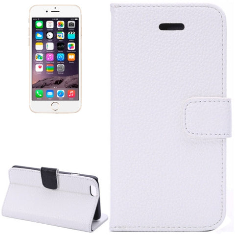 Buy Online  Litchi Texture Leather Case with Card Slots and Holder for iPhone 6 Plus & 6S Plus(White) Apple Cases - MEGA Discount Online Store Ghana