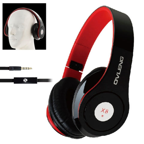OVLENG Universal Stereo Headset with MIC for All Audio Devices, Cable Length: 1.2m (Black + Red) Headphones - MEGA Discount Online Store Ghana
