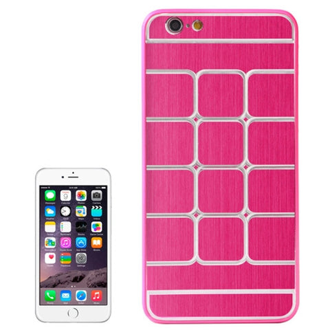 Buy Online  Brushed Texture Grids Dents Plastic Hard Cover for iPhone 6 Plus(Magenta) Apple Cases - MEGA Discount Online Store Ghana